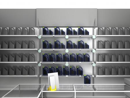 Illustration of automobile store - minimarket Stock Photo