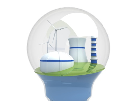 echnology: Wind turbines and atomic station in the bulb