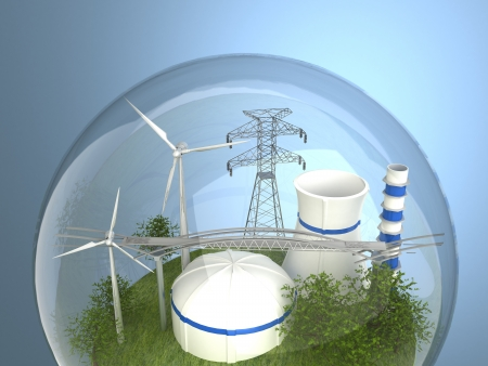 renewable energy: Wind turbines and atomic station in the bulb