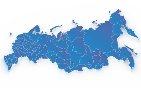 Map of Russia with regions isolated on white photo
