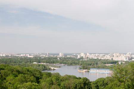 riverside trees: Kiev cityscape and Dnieper river, Ukraine Stock Photo