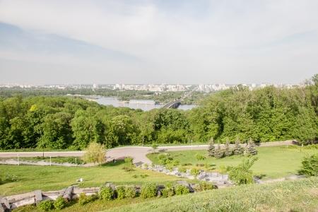 the dnieper: Kiev cityscape and Dnieper river, Ukraine Stock Photo
