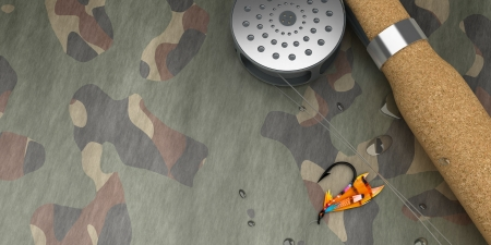 fishhook: Fly-Fishing Set  - Computer Art 3D Series Stock Photo