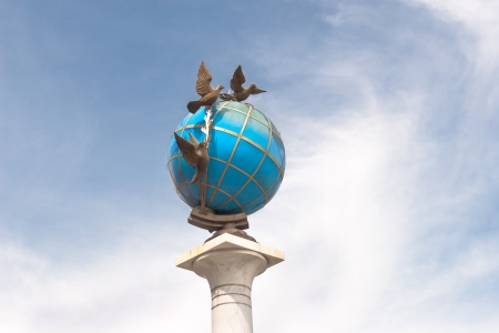sovereignty: Stella with column at Independence square in Kiev - Ukraine Stock Photo