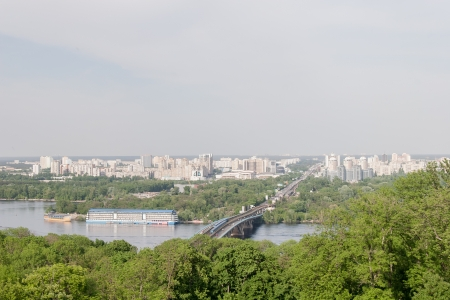 kyiv: Kiev cityscape and Dnieper river, Ukraine Stock Photo