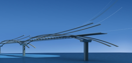 Conceptual bridge at blue photo