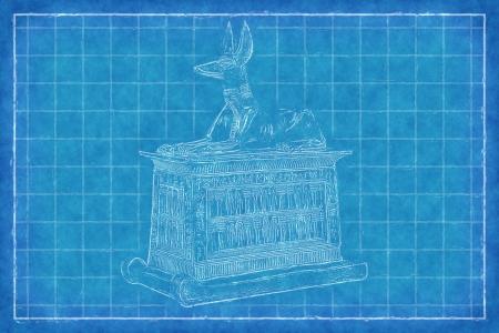 death valley: Egyptian God Anubis - Blue Print