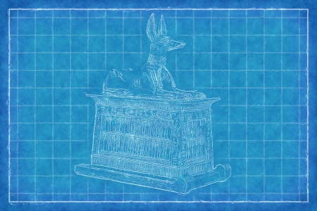mummification: Egyptian God Anubis - Blue Print
