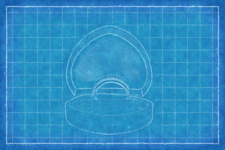 Golden ring in box - Blue Print