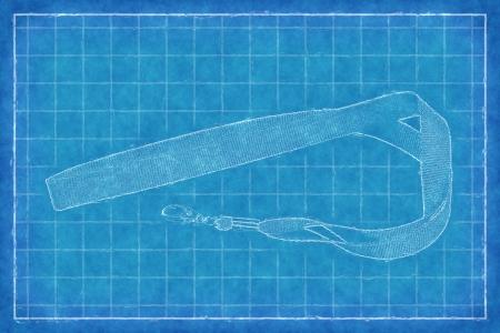 lanyard: Fabric lanyard - Blue Print