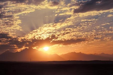 desert sunset: Sunset in Desert - Sahara Rocky Mountains Stock Photo