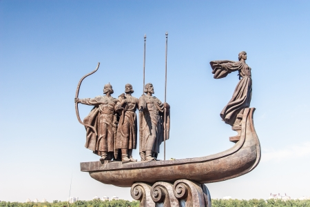 Monument to founders of Kiev: Kiy, Schek, Khoryv and Lybid photo