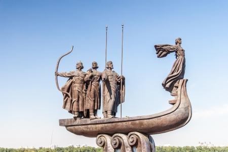 founders: Monument to founders of Kiev: Kiy, Schek, Khoryv and Lybid