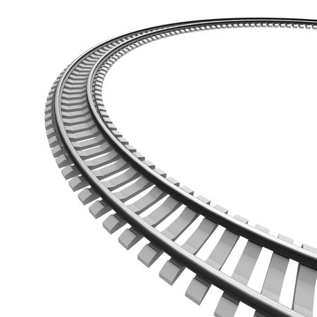 Single curved railroad track isolated Stock Photo
