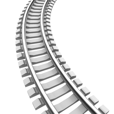 Single curved railroad track isolated Stok Fotoğraf