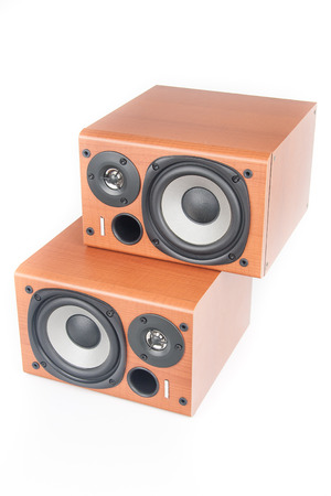 surround system: wooden sound speakers isolated on white background Stock Photo