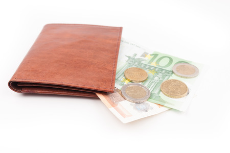 Brown wallet with EU money and coins photo