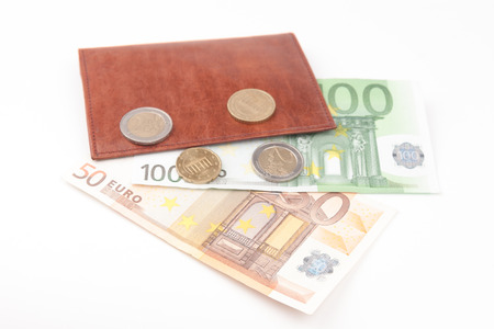 one hundred euro banknote: Brown wallet with EU money and coins