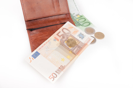 Brown wallet with EU money photo