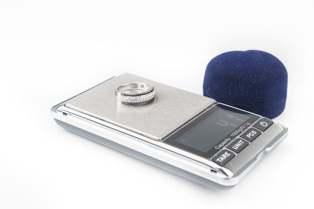 Digital scales isolated on white background photo