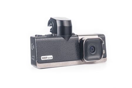airtight: Car video recorder isolated on white background Stock Photo