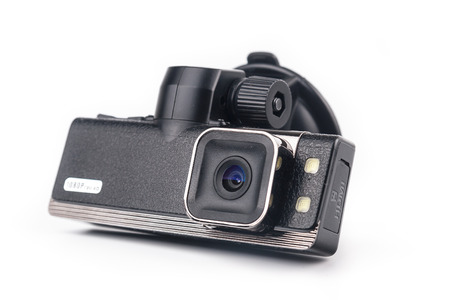 Car video recorder isolated on white background Stock Photo