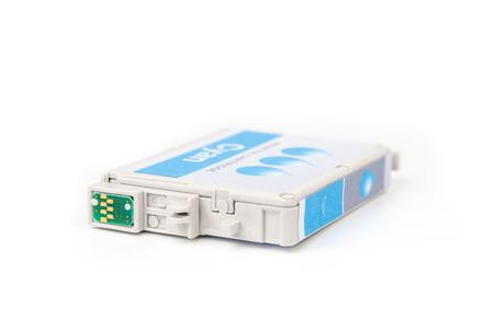 Cartridges for colour inkjet printer isolated on white photo