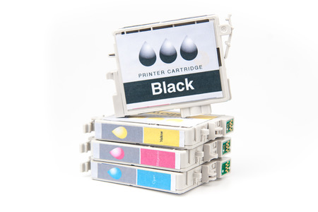 Cartridges for colour inkjet printer isolated on white photo