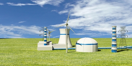 Nuclear Power Station and environment - 3d Illustration illustration
