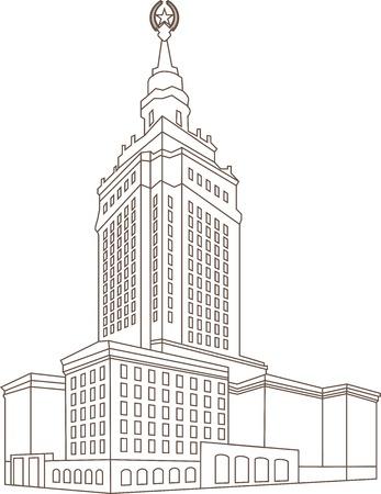 construction firm: Contour Building Illustration - Vector Contour Acchitecture Series