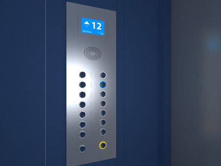 bue: Illustration of Bue and gray Elevator Interior Stock Photo