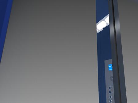 Illustration of Bue and gray Elevator Interior Stock Photo