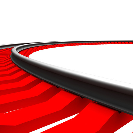 sleeper: Single curved railroad track isolated on white background