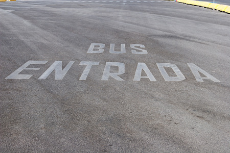 Bus lane road marking photo
