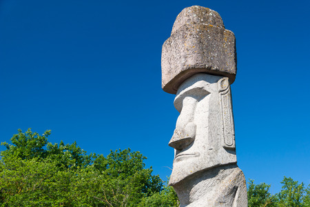 easter island: One Rapa Nui Statue from Easter Island in Viterbo, Italy Stock Photo