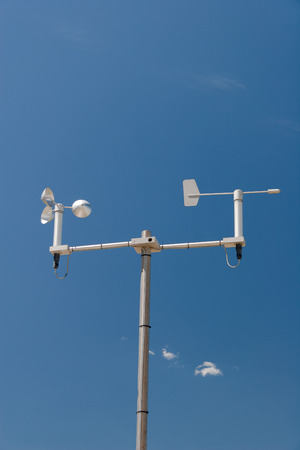 hygrometer: Mini Weather station against the blue sky Stock Photo
