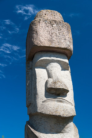 rapa: One Rapa Nui Statue from Easter Island in Viterbo, Italy Stock Photo