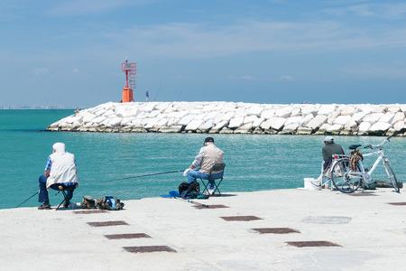 rimini: Stone Pier in Rimini, Italy - Summer