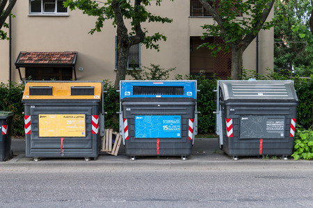 Three Garbage containers for separate types of trash