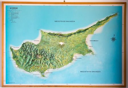 geographical: Geographical Map of Cyprus Island - Southern and Northern partt