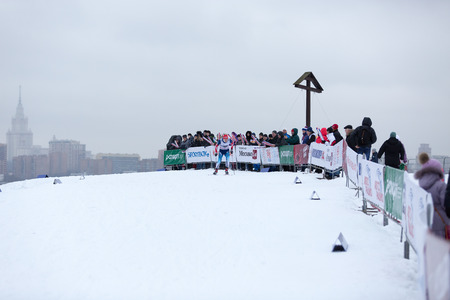 crosscountry: Moscow, RUSSIA - January 18 2015: Race participants of FIS Continental Ski Cup at Poklonnaya Hill