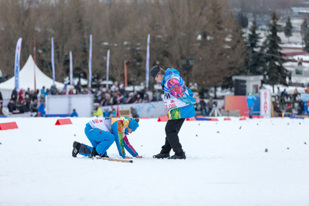 cup of russia: Moscow, RUSSIA - January 18 2015: Race participants of FIS Continental Ski Cup at Poklonnaya Hill