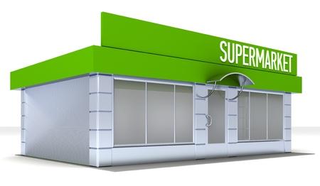 boutique display: Illustration of shop or minimarket kiosk. Exterior