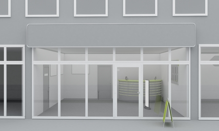 shop show window: Illustration of shop or office facade exterior