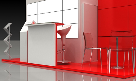 exhibition stand: Red Exhibition Stand Interior and Exterior Sample