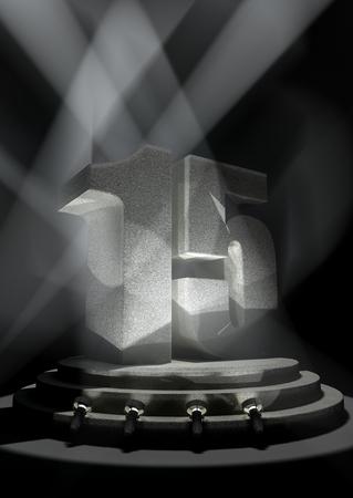 fifteen: Night Anniversary Scene with FIFTEEN on pedestal