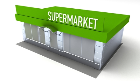shop show window: Illustration of shop or minimarket kiosk. Exterior