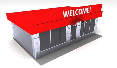 shopfront: Illustration of shop or minimarket kiosk. Exterior