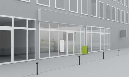 shop window display: Illustration of shop or office facade exterior