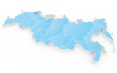 federation: New map of the Russian Federation and Crimea. 3D